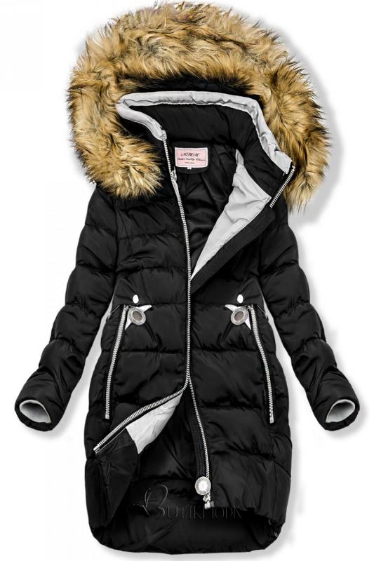 Fekete színű hosszított kabát kapucnival