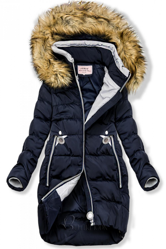 Kék színű hosszított kabát kapucnival