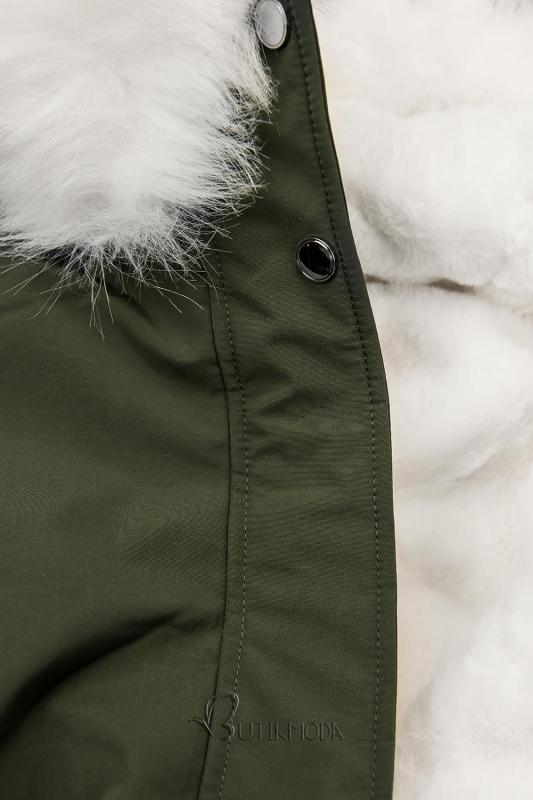 Khaki színű téli parka fehér színű plüssel