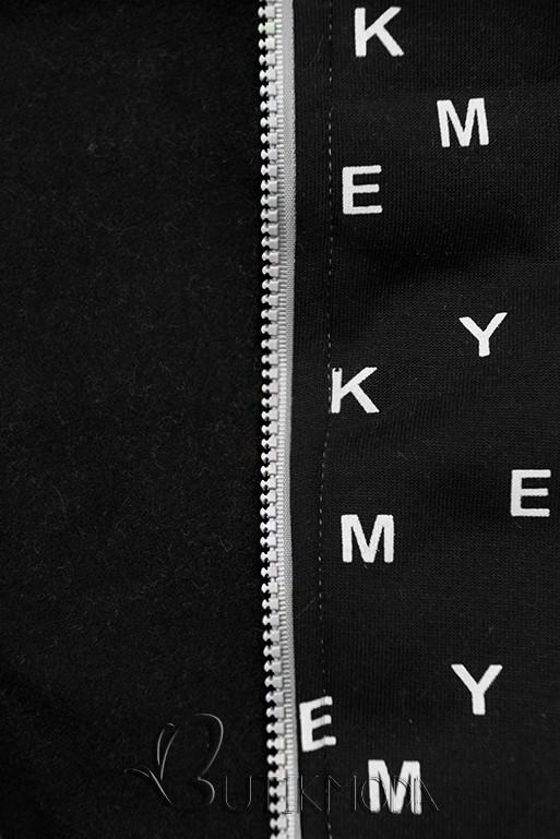 Szürke és fekete színű melegítő szett nyomott mintával