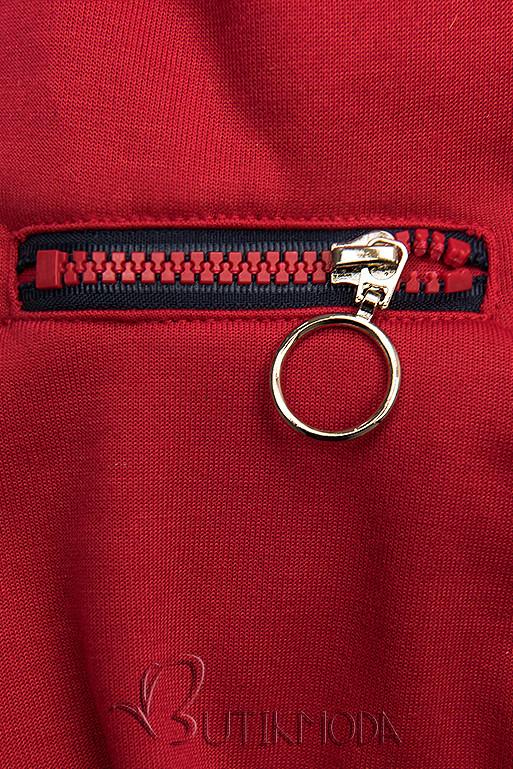 Piros színű felső aszimmetrikus cipzárral