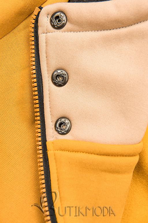 Sárga színű felső aszimmetrikus cipzárral