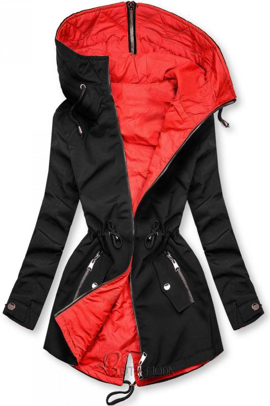 Kifordítható átmeneti parka - fekete és piros színű