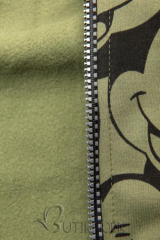 Khaki színű melegítő szett nyomott mintával