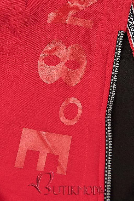 Kapucnis melegítő szett - piros és fekete színű