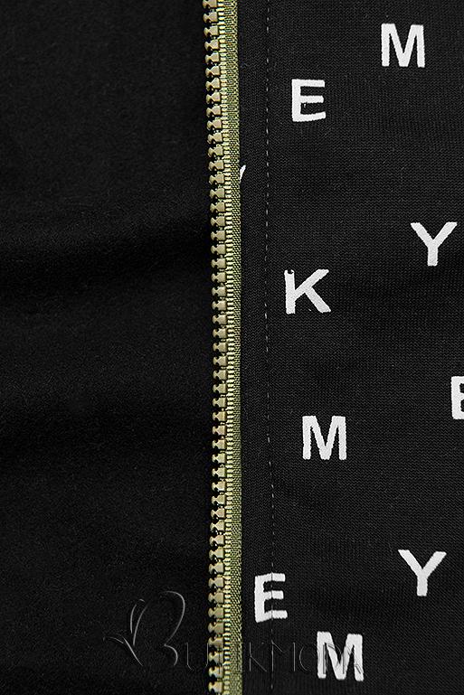 Khaki és fekete színű melegítő szett nyomott mintával