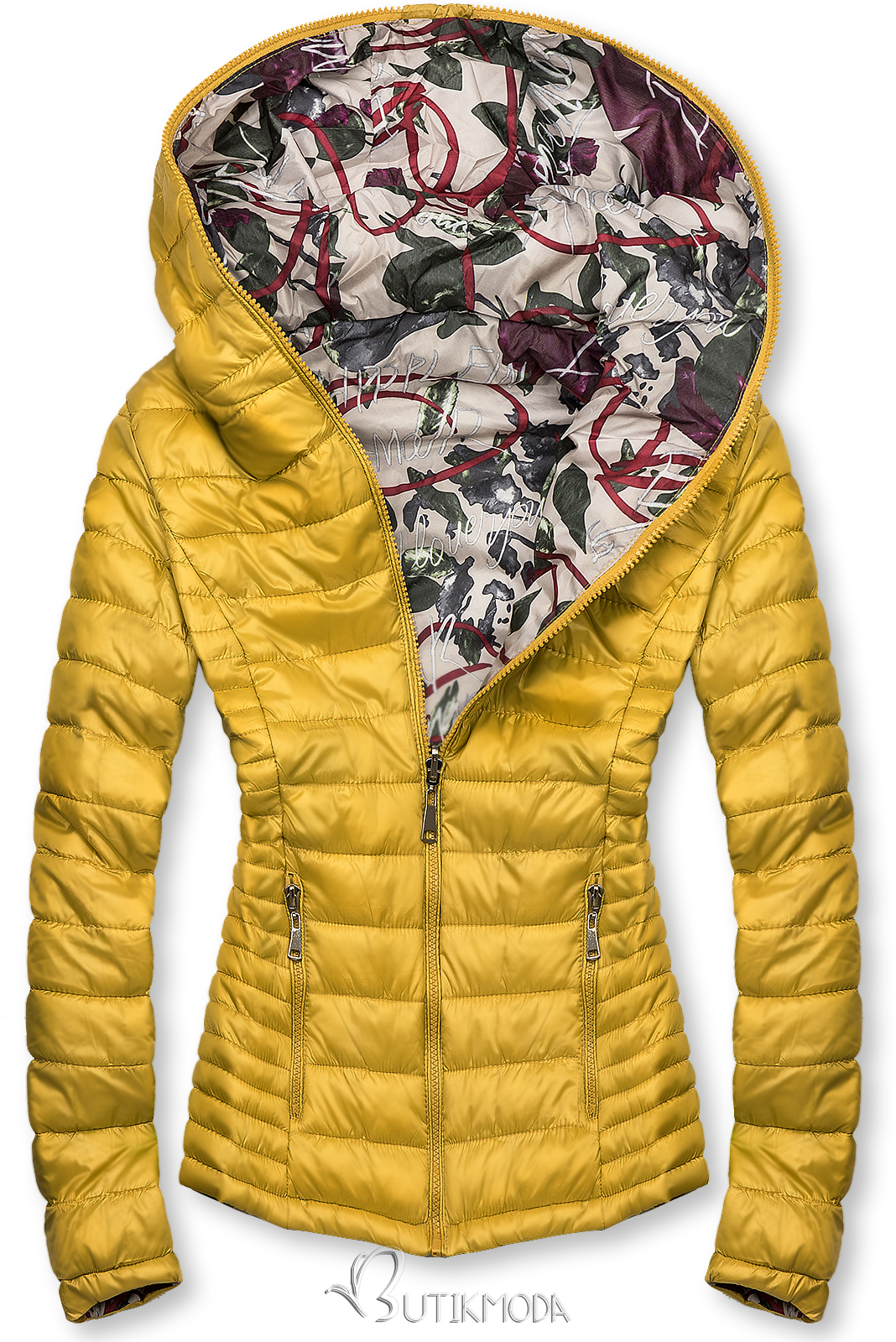 Sárga színű steppelt dzseki színes béléssel