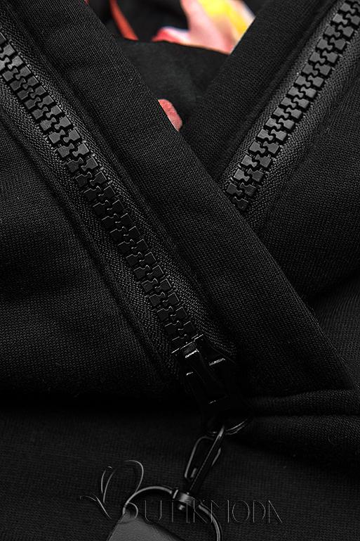 Melegítő szett virágmintás béléssel - grafitszürke és fekete színű