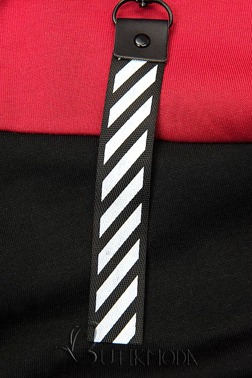 Melegítő szett virágmintás béléssel - piros és fekete színű