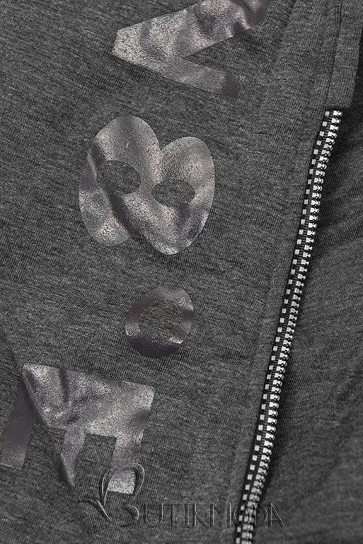 Kapucnis melegítő szett - grafitszürke és fekete színű