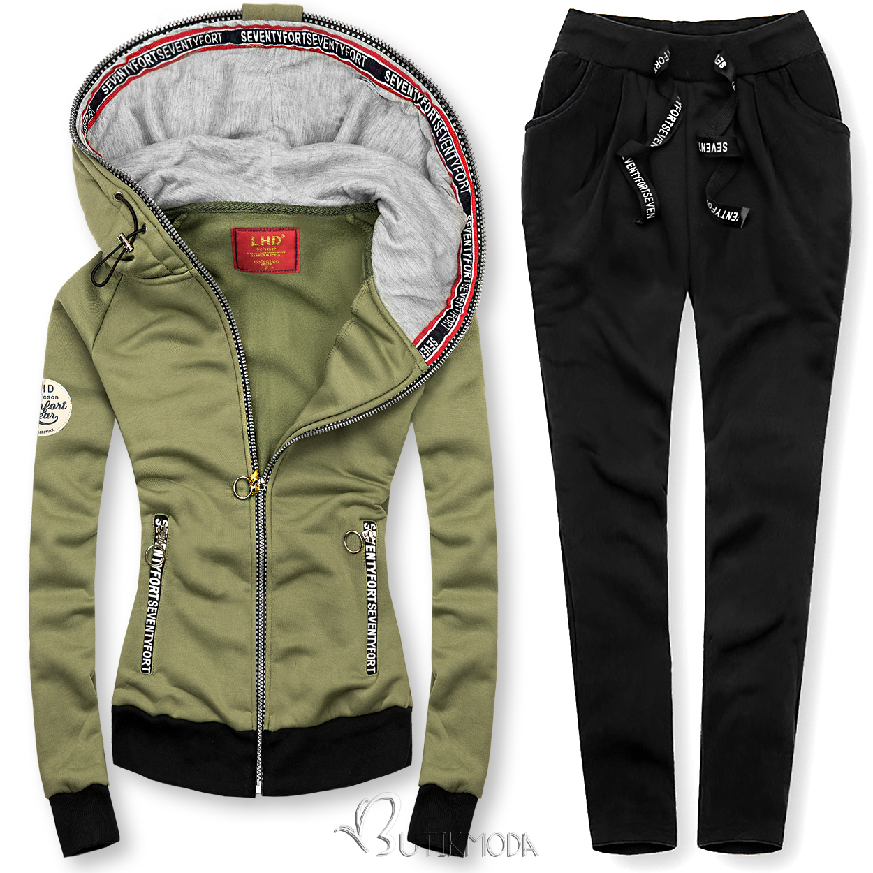 Kapucnis melegítő szett - khaki és fekete színű