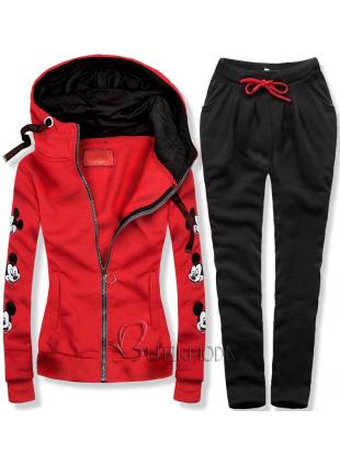 Piros és fekete színű melegítő szett