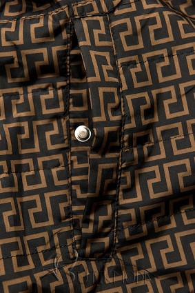 Khaki és barna színű mintás parka