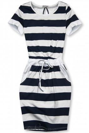 Kék és fehér színű csíkos ruha XX.