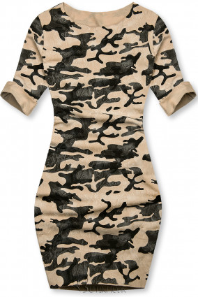 Barna színű laza terepmintás ruha