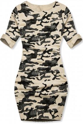 Vaniliasárga színű laza terepmintás ruha