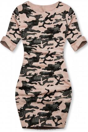 Rózsaszínű laza terepmintás ruha