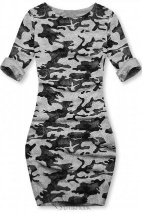 Szürke színű laza terepmintás ruha