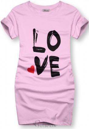 Lila színű tunika LOVE nyomott mintával