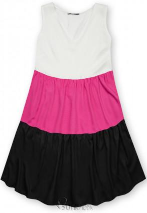 Fehér, fekete és fuksziaszínű nyári viszkóz ruha