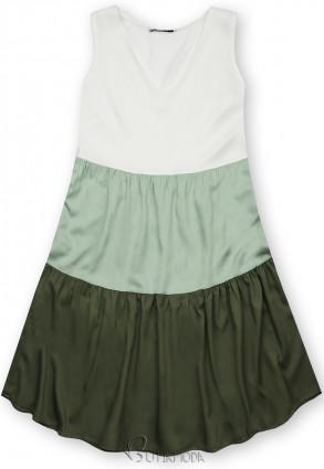 Fehér, mentazöld és zöld színű nyári viszkóz ruha