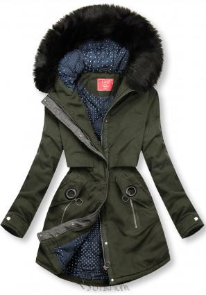 Téli parka kabát, pöttyös béléssel - zöld színű