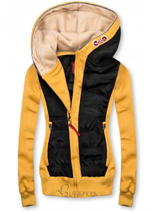Sárga és fekete színű rövid, kombinált felső