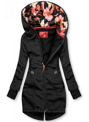 Fekete színű felső, kapucniján virágmintás béléssel