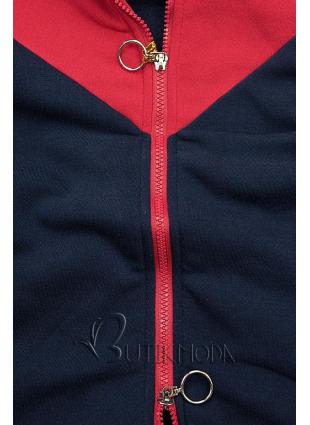 Hosszított felső - kék, piros és szürke színű