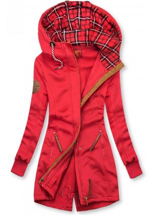 Piros színű kapucnis felső hosszított fazonban
