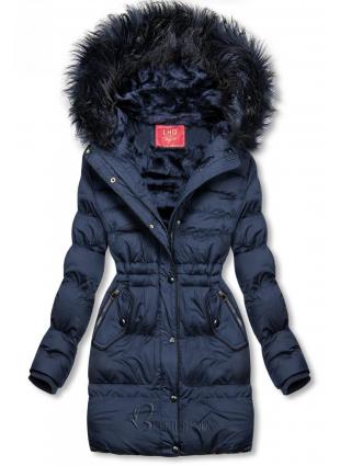 Sötétkék színű téli kabát, derekán behúzással