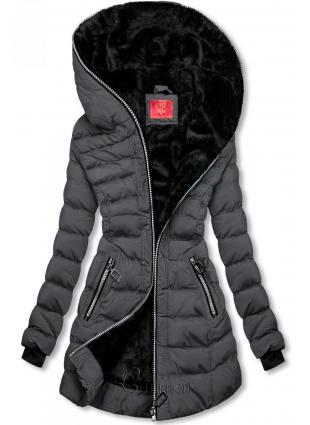Téli steppelt kabát kapucnival - sötét szürke színű