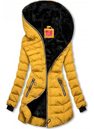 Téli steppelt kabát kapucnival - sárga színű