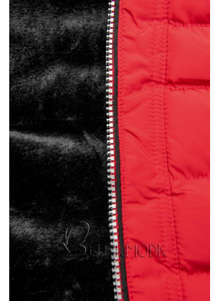 Téli steppelt kabát kapucnival - piros színű