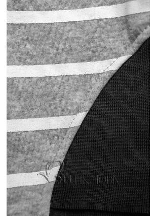 Fekete és szürke színű csíkos melegítő szett