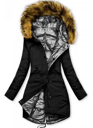Fekete és ezüstszürke színű kifordítható téli kabát