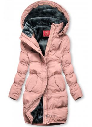 Rózsaszínű téli kabát plüss béléssel