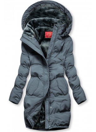Szürke színű téli kabát plüss béléssel