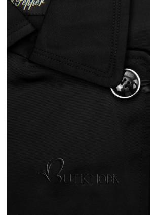 Fekete színű átmeneti kabát megkötővel