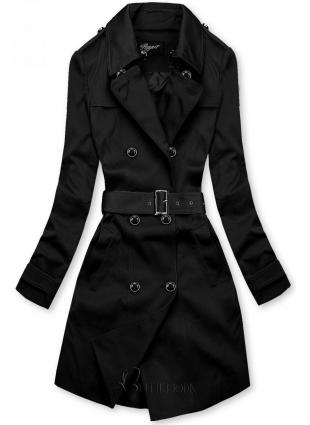 Fekete színű átmeneti kabát csatos övvel