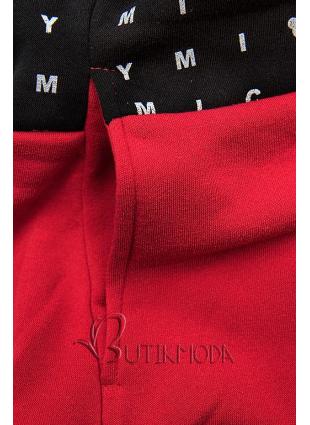 Piros és fekete színű melegítő szett nyomott mintával