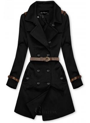 Fekete színű átmeneti kabát műbőr elemekkel