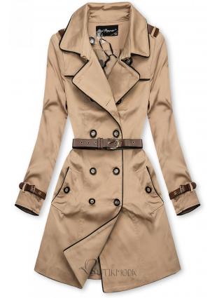 Bézs színű átmeneti kabát műbőr elemekkel