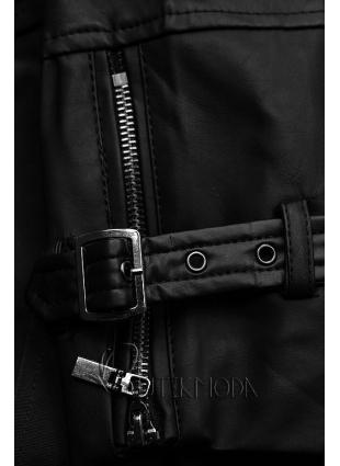 Fekete színű átmeneti kabát műbőr ujjakkal