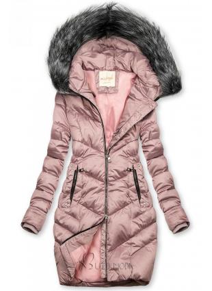Lila színű steppelt téli kabát