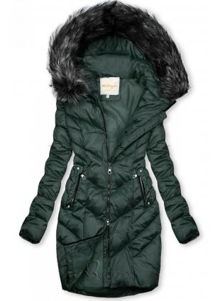 Zöld színű steppelt téli kabát