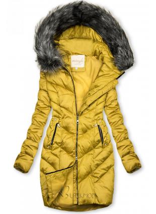 Mustársárga színű steppelt téli kabát