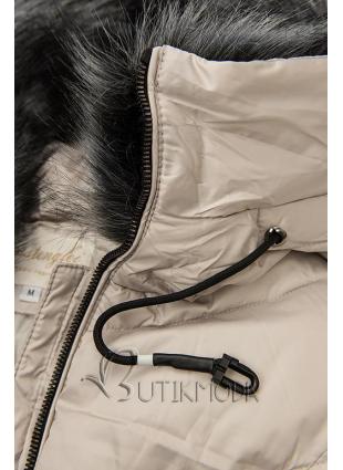Krémszínű steppelt téli kabát