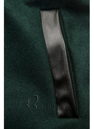 Sötétzöld színű kabát műbőr elemekkel