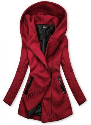 Bordó színű kabát műbőr elemekkel